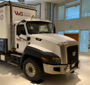 Caterpillar-CT660-Truck-Cab-Gloss-White-Colour-Change-Full-Wrap-with-Decal-Overlays