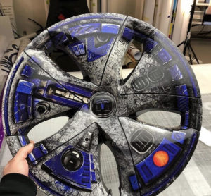 Tesla Model 3 - Custom Star Wars Print Wheel Wraps after